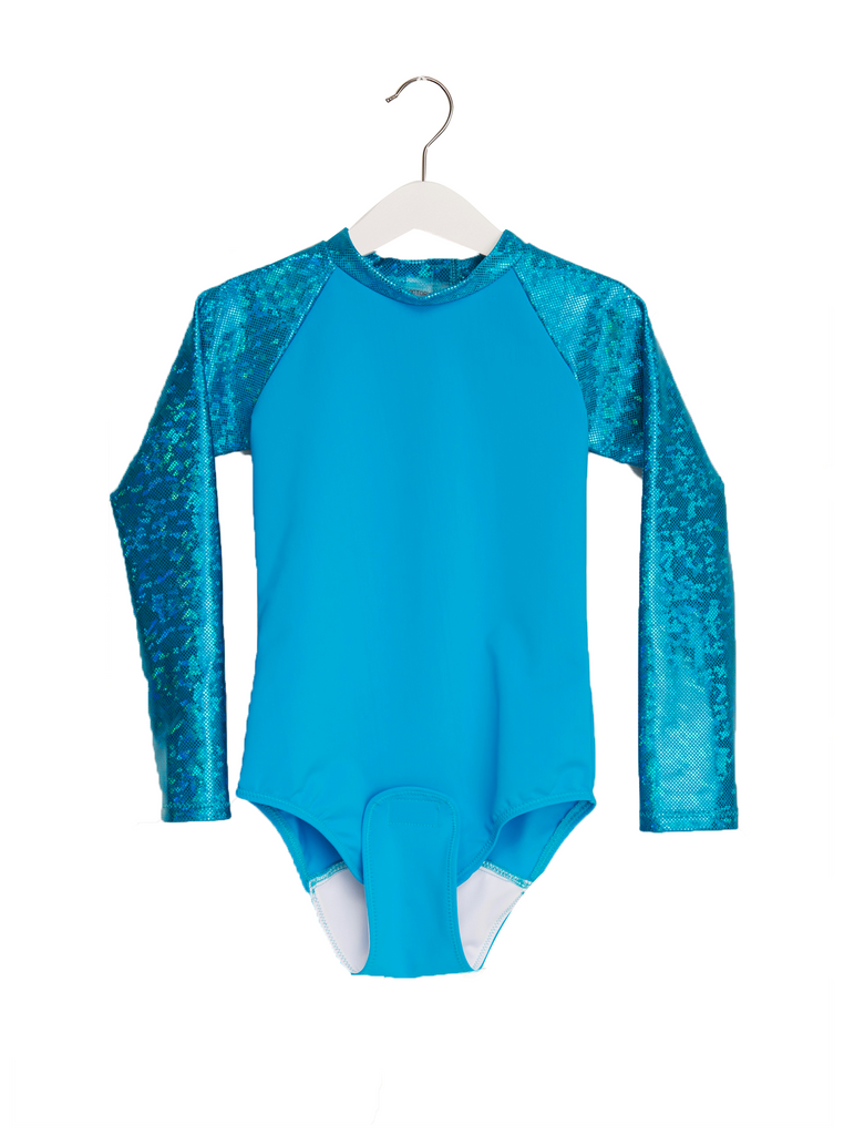 Adaptive Blue Long Sleeve Girls One Piece