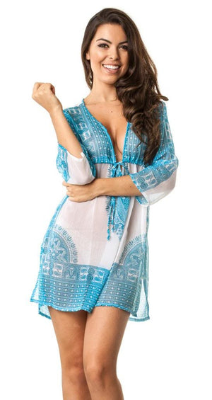 D28 Turquoise - Cover Up Dress
