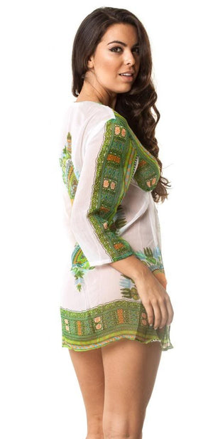 D499 Green Cover Up Dress
