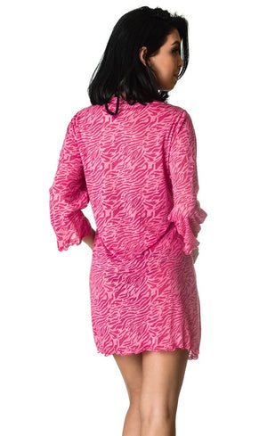Fuchsia Burnout Cover Up Dress