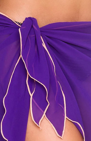 Short Chiffon Sarong - Purple
