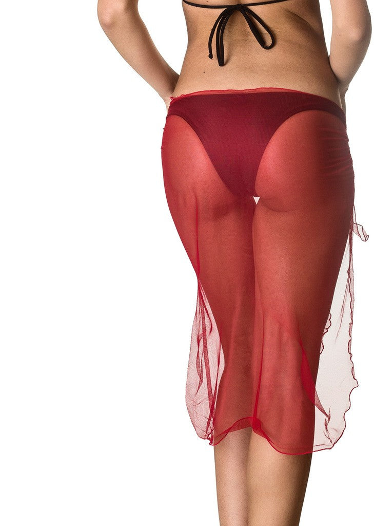 Long Mesh Sarong - Red