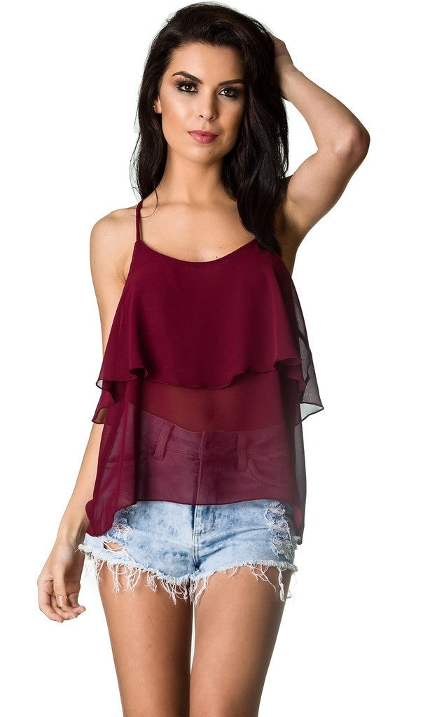 Top Strappy Tank - BURGANDY