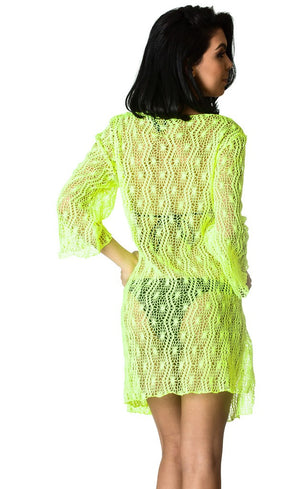 Crochet V neck Tunic Cover Up Dress Yellow