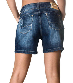 Bermuda Denim Shorts Jeans - Women's Blue Destroyed