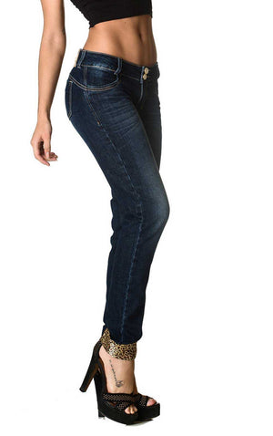 Dark Denim Skinny Jeans - Women's Blue Destroyed