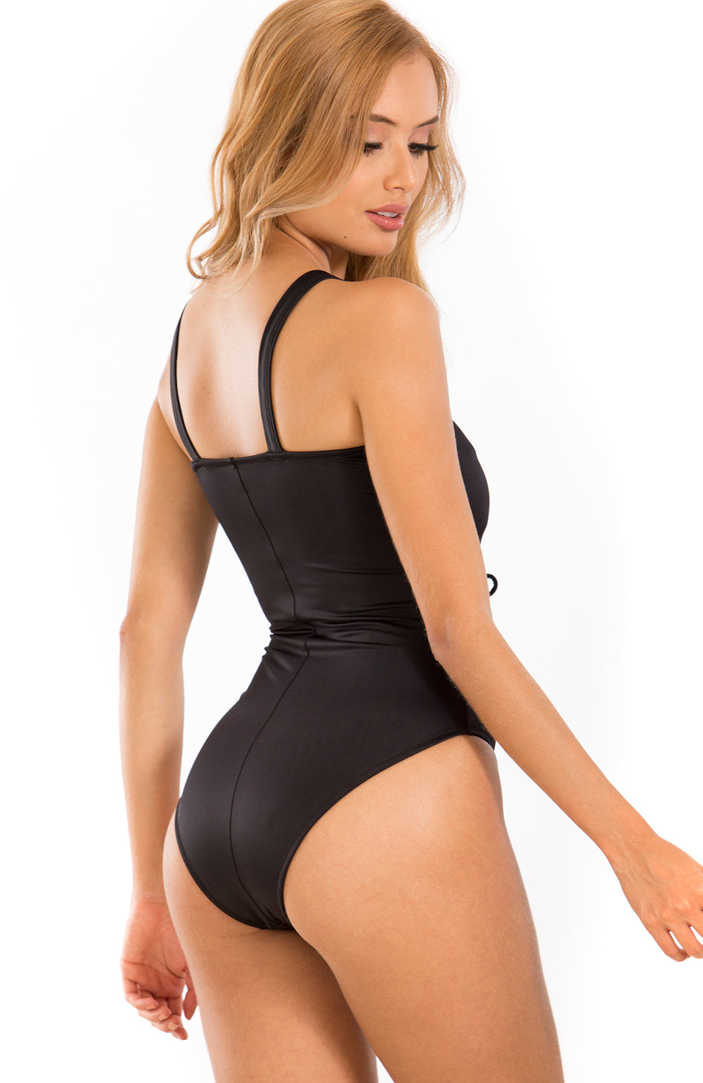Black - Irgus twister front one piece swimsuit