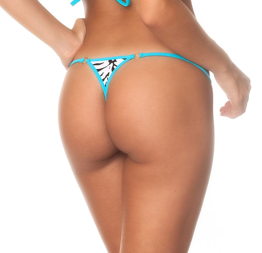 Zebra Turquoise- Micro Thong Bottom