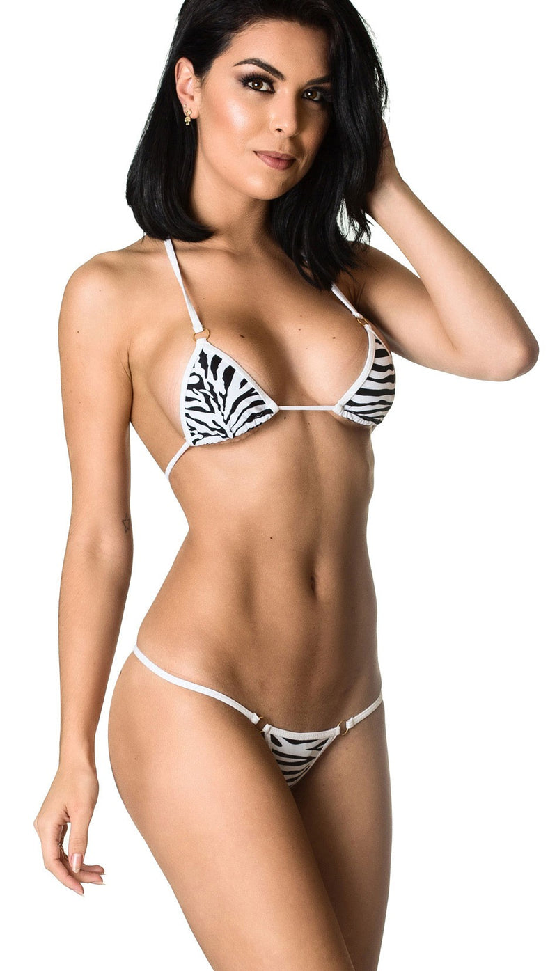Micro Thong & Top SET - Zebra White