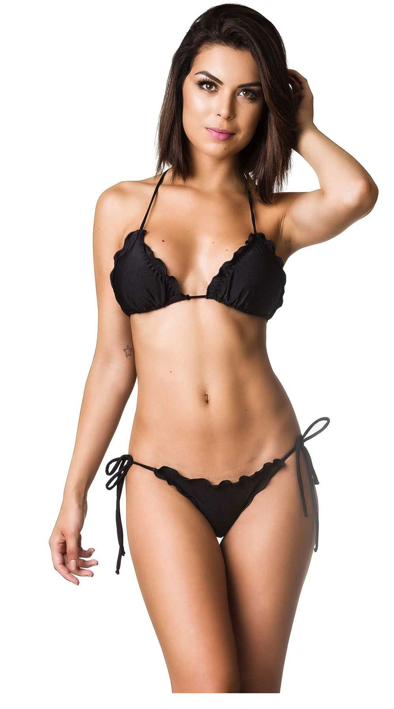 Black - Ruffles Bumbum Set