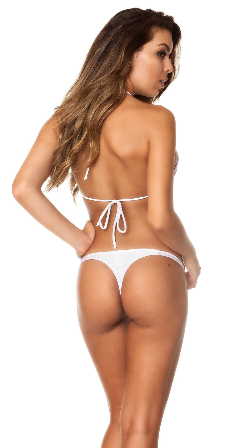 White - Thong Bottom & Tri Top SET