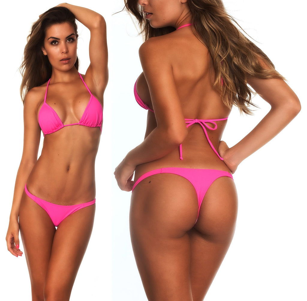 Hot Pink - Thong Bottom & Tri Top SET