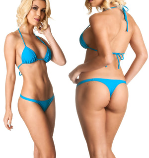 Turquoise - Thong Bottom & Tri Top SET