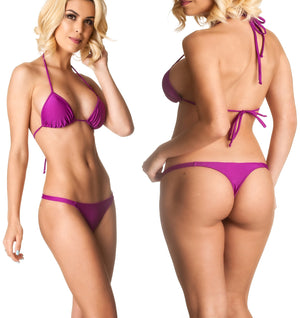 Purple - Thong Bottom & Tri Top SET