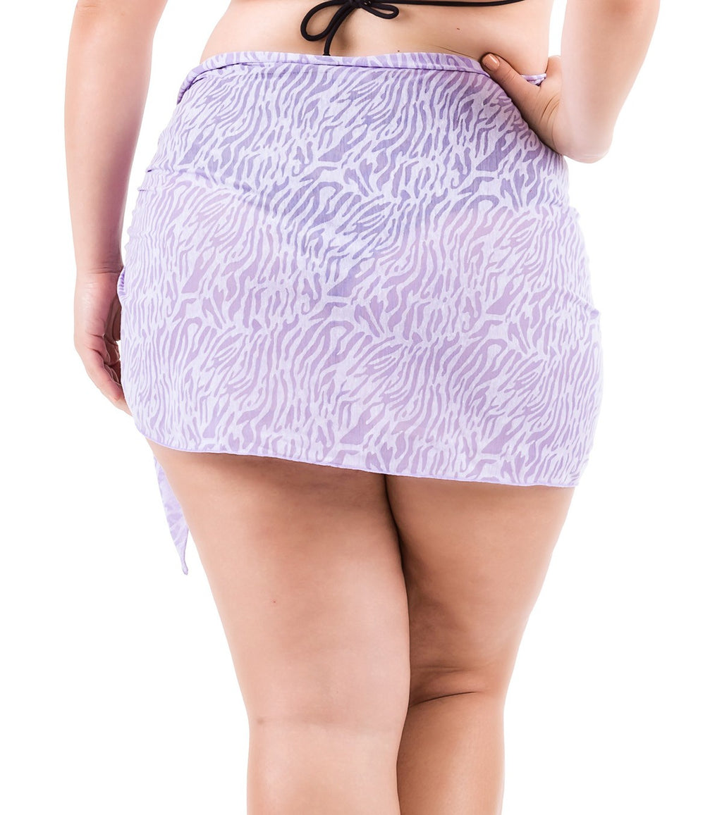 Plus Size Burnout Sarong - Purple