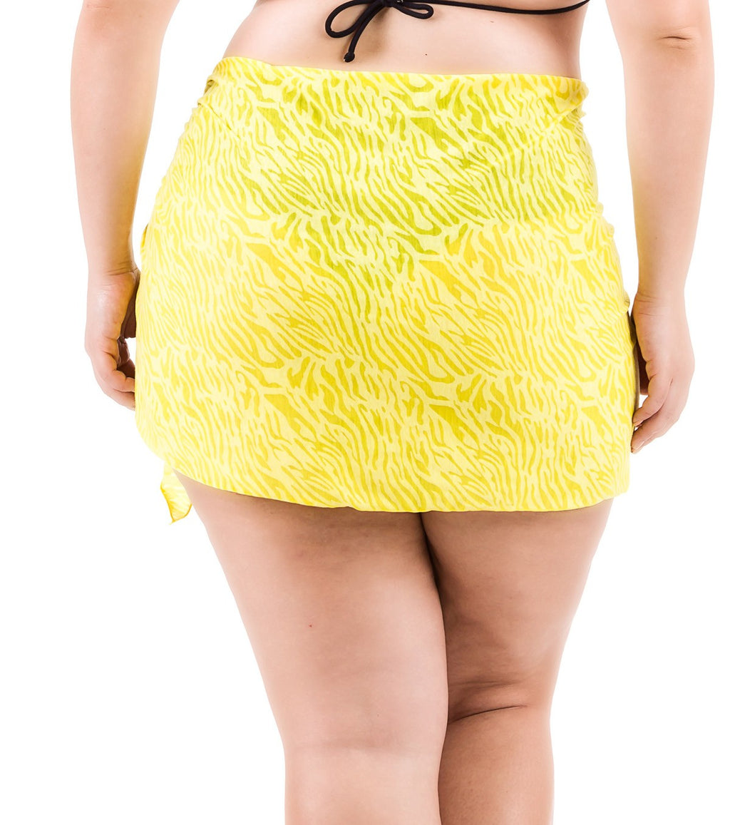 Plus Size Burnout Sarong - Yellow