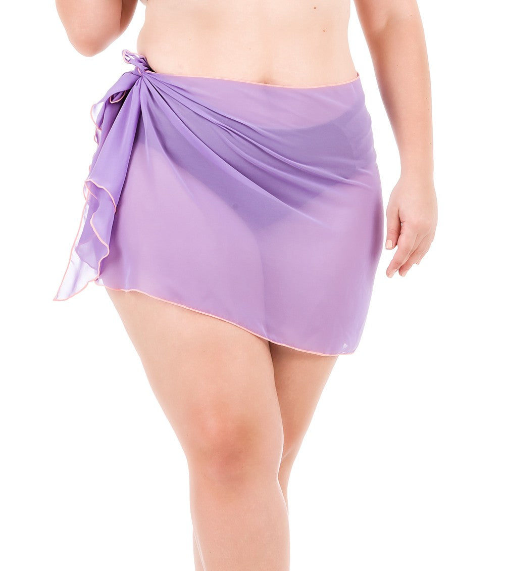 Plus Size Chiffon Sarong - Purple Pastel