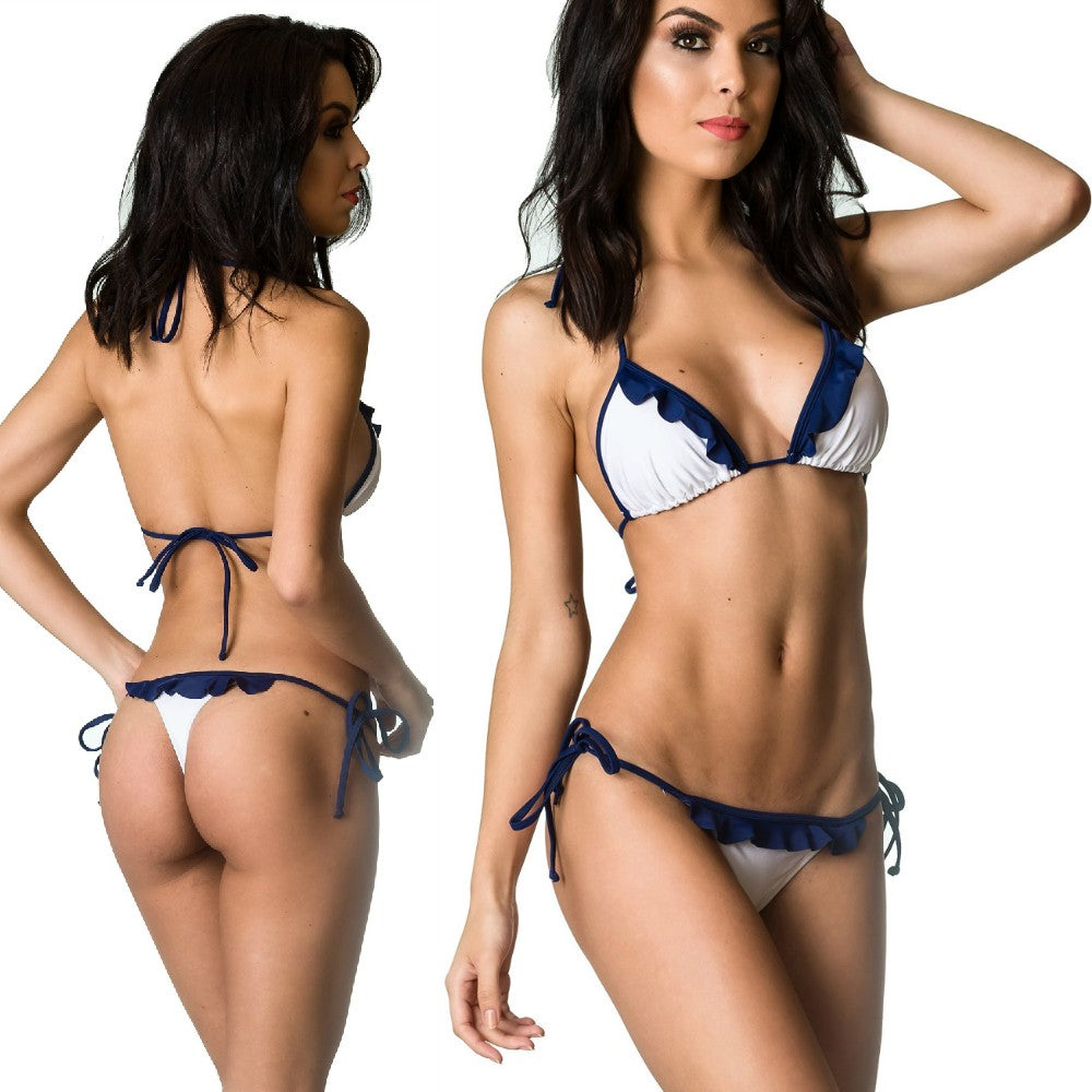 Navy White - Ruffle Thong & Unpadded Top