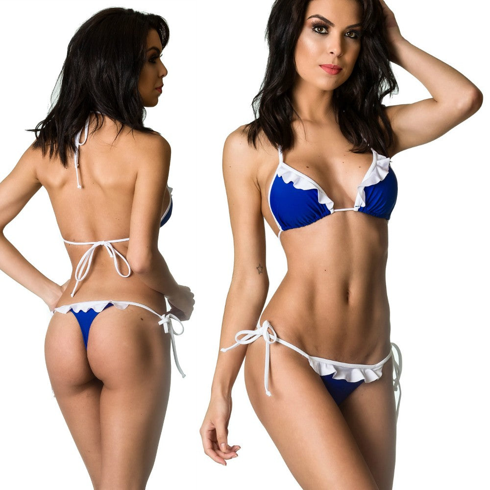 Royal White - Ruffle Thong & Unpadded Top