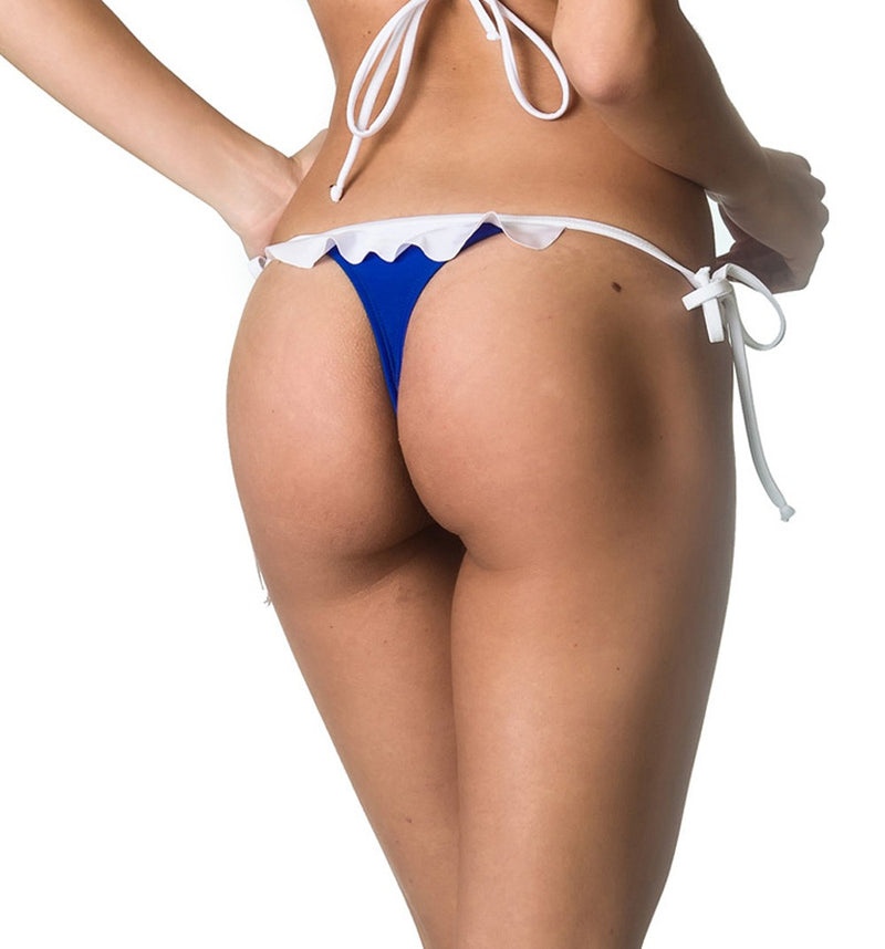 Royal White - Ruffle Thong