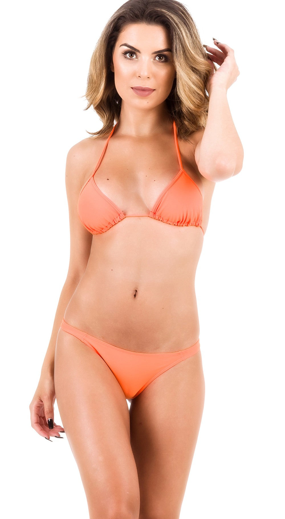 Orange - Thong Bottom & Tri Top SET