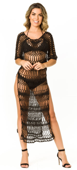Black - Crochet Long Cover Up - 518