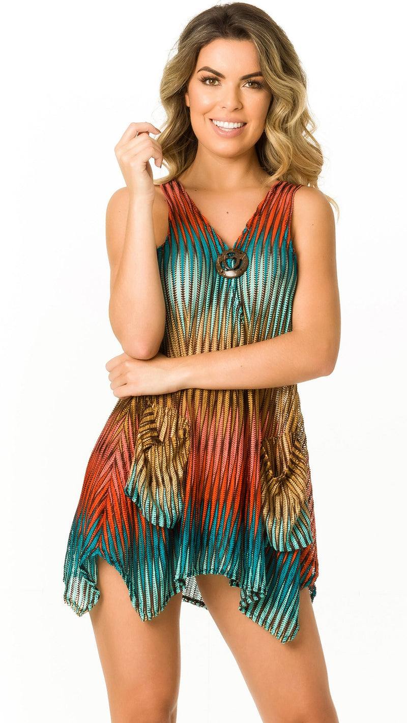 Turquoise and Brown - Cover Up - D 413