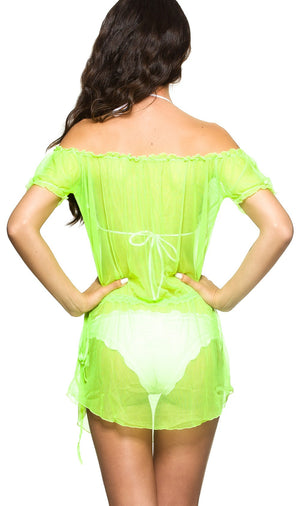 Neon Green - Ultra Sheer Cover Up Dress Mesh