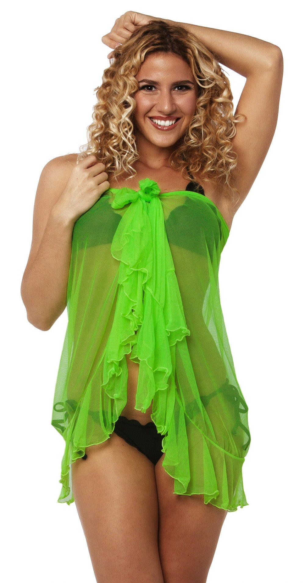 Flamenco - Neon Green Ultra Sheer Mesh Sarong