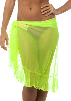 Flamenco - Neon Yellow Ultra Sheer Mesh Sarong
