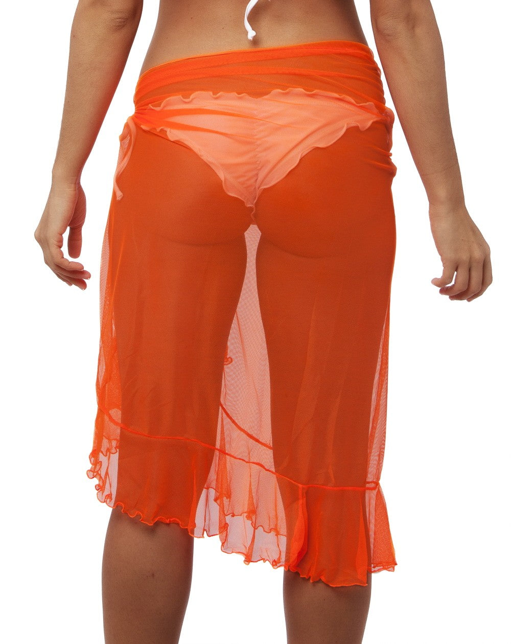 Flamenco - Orange Ultra Sheer Mesh Sarong