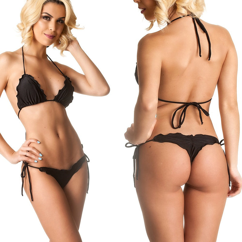 Ruffles Thong & Ruffles Padded Top - Black