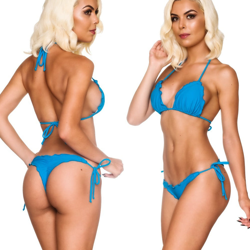Ruffles Thong & Ruffles Padded Top - Blue