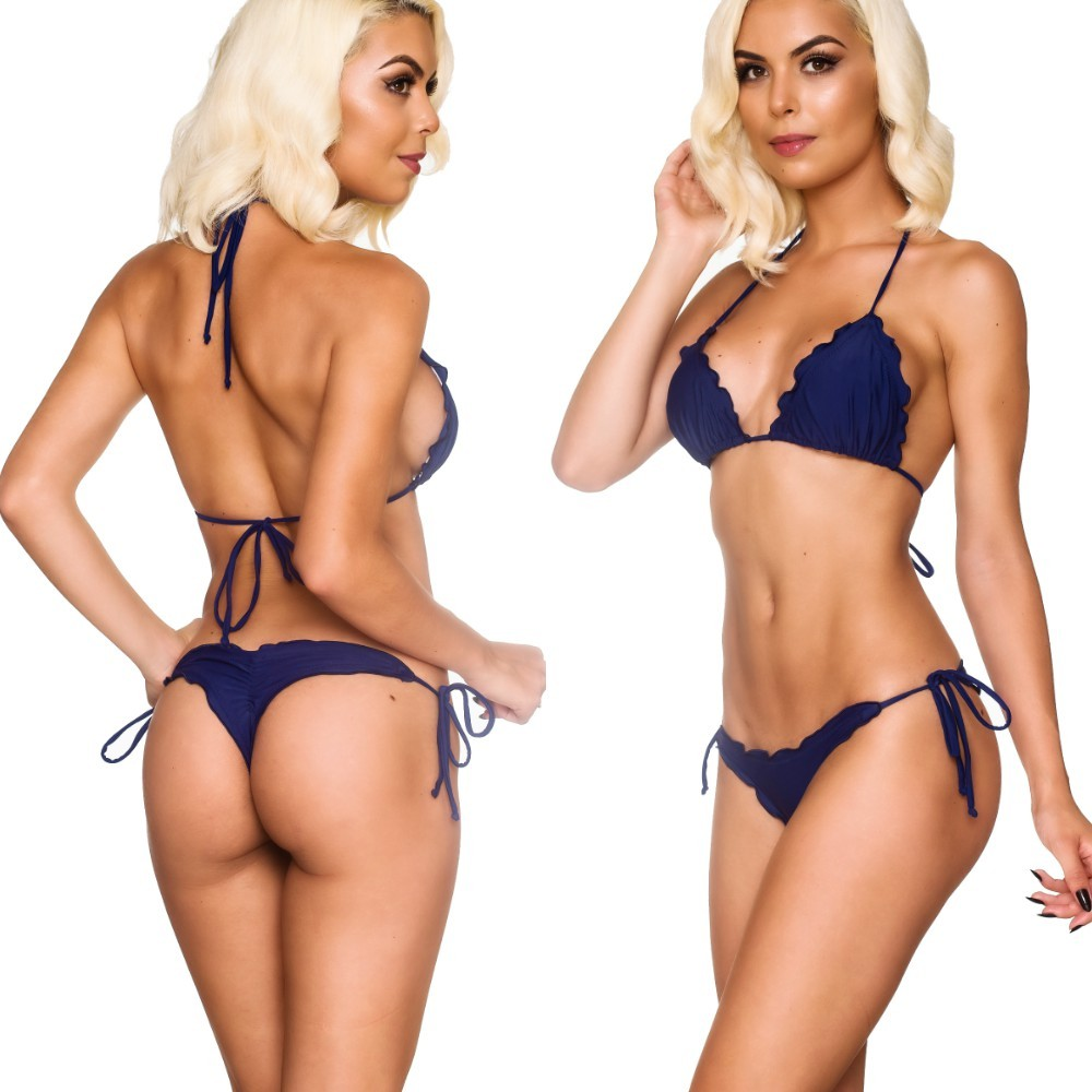 Ruffles Thong & Ruffles Padded Top - Navy