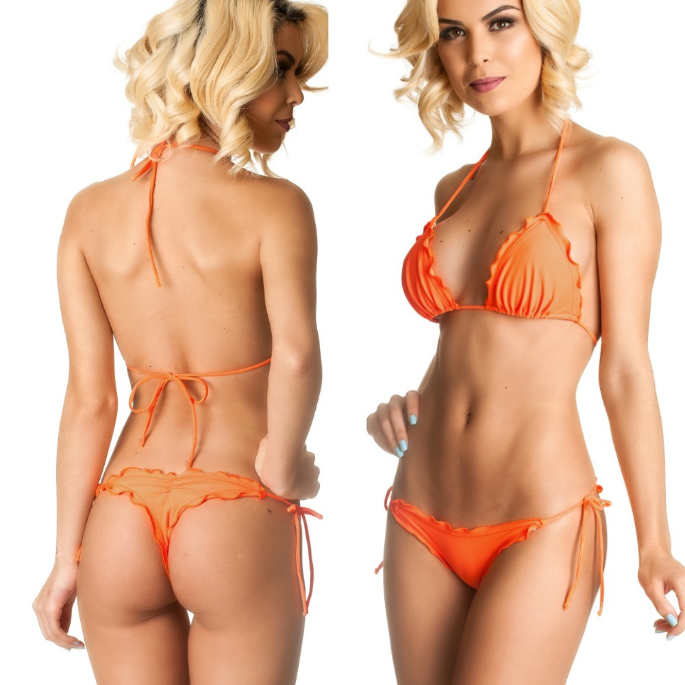 Ruffles Thong & Ruffles Padded Top - Orange