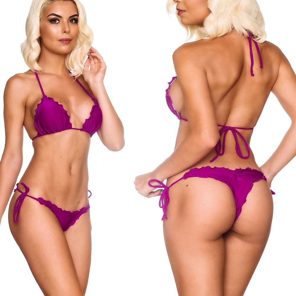 Ruffles Thong & Ruffles Padded Top - Purple