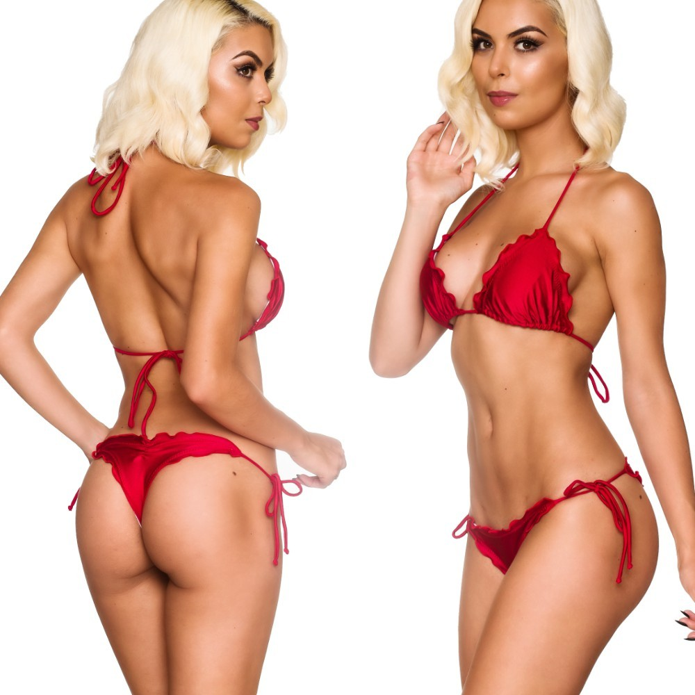 Ruffles Thong & Ruffles Padded Top - Red