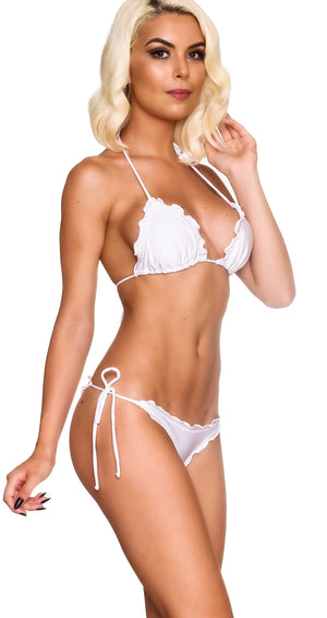 Ruffles Thong & Ruffles Padded Top - White