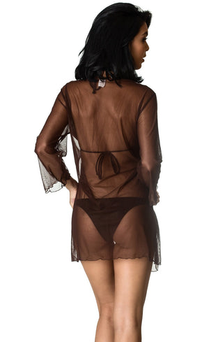 Brown Mesh - Cover Up Dress