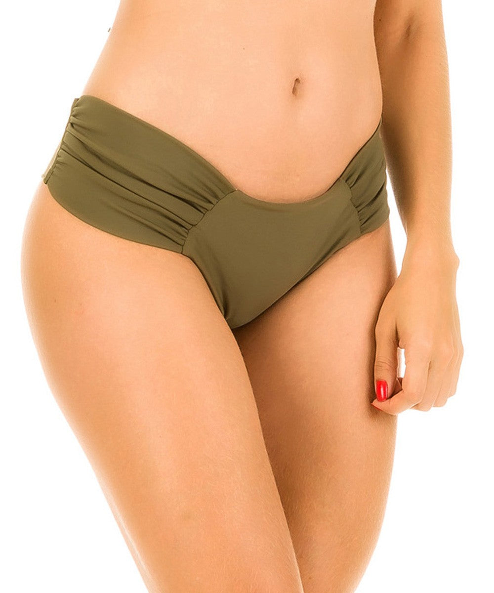 Khaki - Ruched Retro Bottom