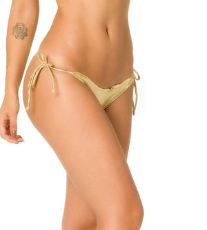 Gold - Ruffles Thong Bottom