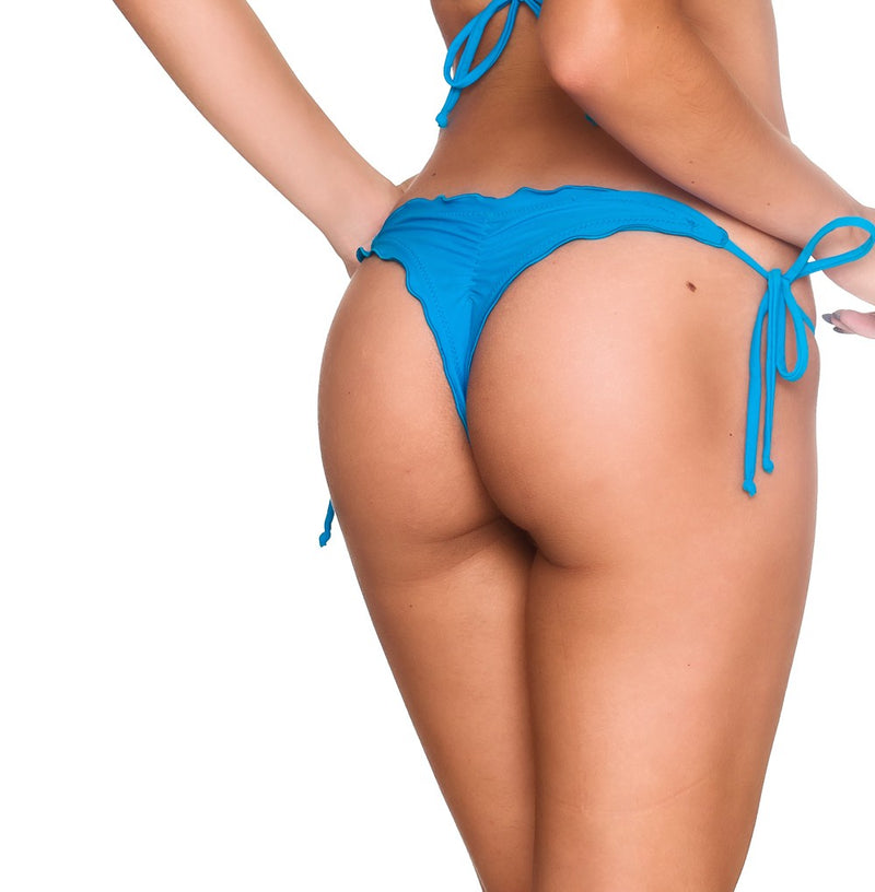 Turquoise - Ruffles Thong Bottom