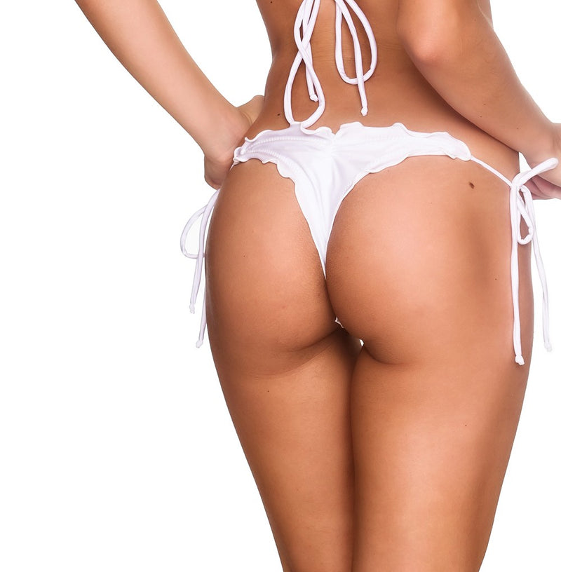 White - Ruffles Thong Bottom