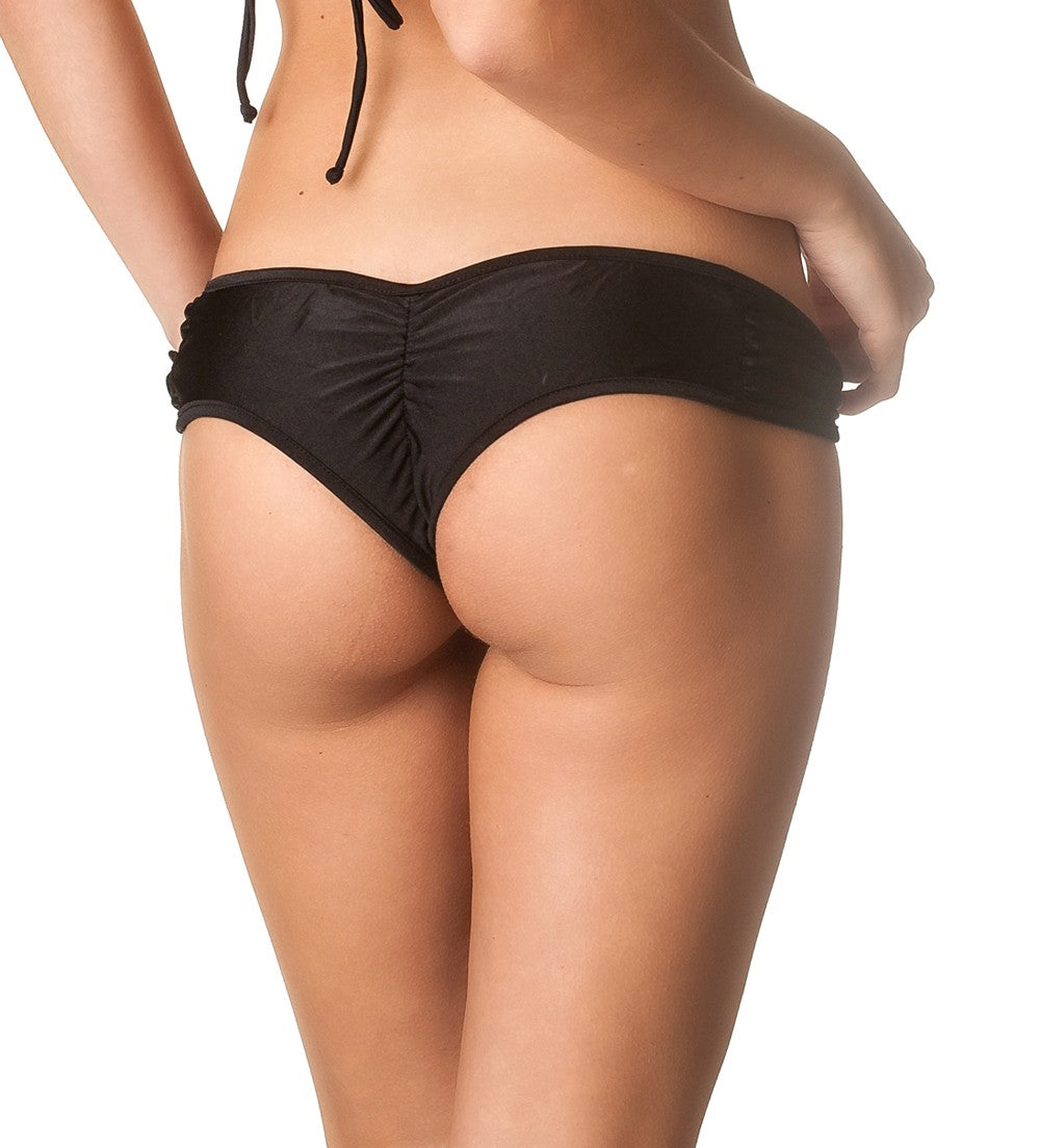 Black - Ruched Hipster Bottom