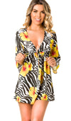 Bali Chiffon V neck Tunic Cover Up Dress