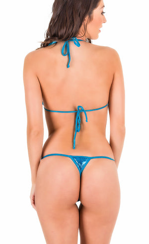 Shiny Ocean - Thong Bottom & Tri Top SET