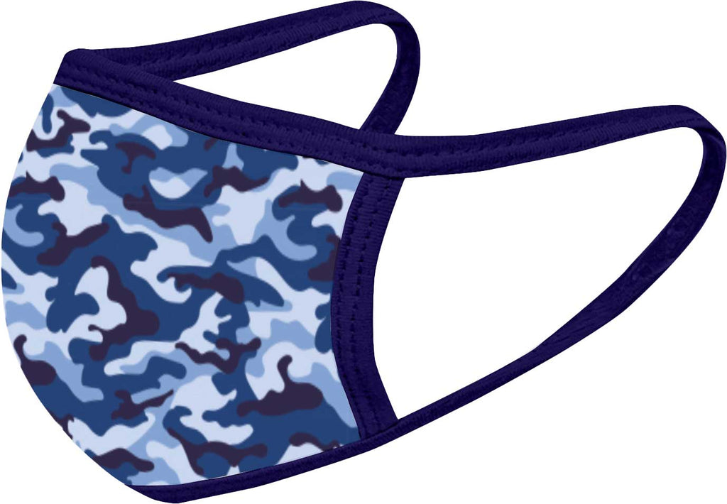 Camo Blue - FACE MASK - With pocket for filter