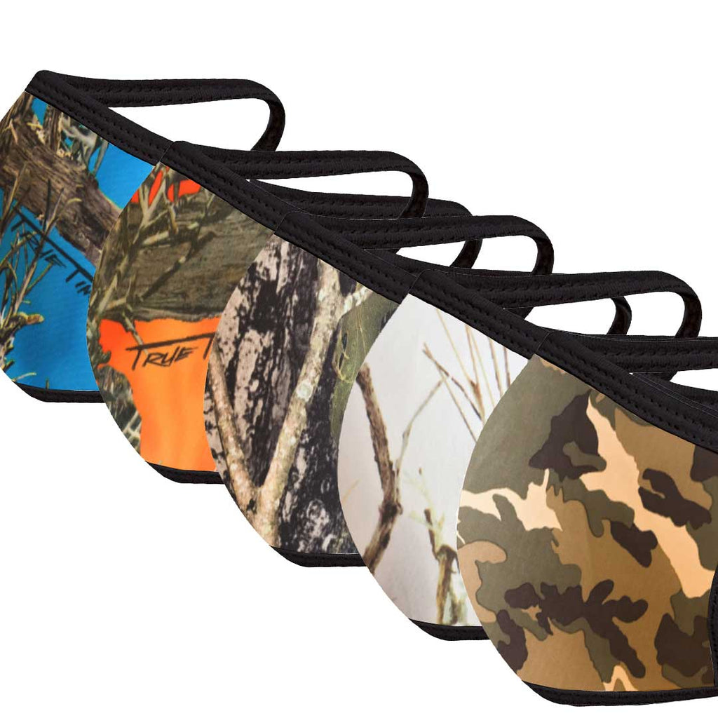 Camo Hunter Print Face Mask Five Pack - With pocket for filter
