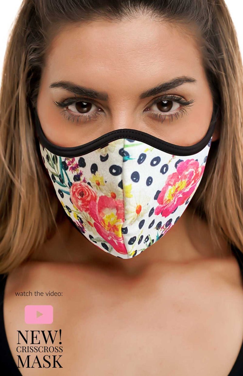 Dot Floral Criss-Cross - FACE MASK