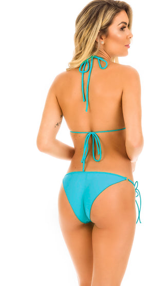 Turquoise - Scrunch Tie Sides Bottom & Ruffles Top